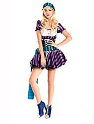 Fête / Célébration Déguisement Halloween Violet / Bleu Imprimé Robe / Casque / CeintureHalloween / Noël / Carnaval / Le Jour des enfants