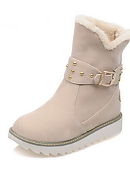 Women's Low-top Pull-on Frosted Low-Heels Round Closed Toe Boots