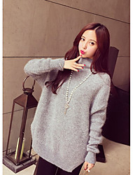 Women's Going out / Casual/Daily Cute Long Pullover,Solid Pink / Gray Turtleneck Long Sleeve Acrylic Fall / Winter Medium Stretchy