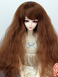 38cm Long Curly Light Brown Color Hair 1/3 1/4 BJD SD DZ Doll Wig Accessories Not for Human Adult