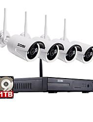 zosi®960p / 720p 4pcs hdmi NVR 1tb hdd 1.3 mp kit ir p2p extérieur cctv ip sans fil de surveillance du système de caméra de sécurité