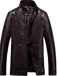 Men's Casual/Daily Simple Leather Jackets,Solid Stand Long Sleeve Spring / Fall Black / Brown / Multi-color PU Medium