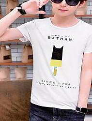 Tee-shirt Hommes,Géométrique / Lettre Sortie simple Eté Manches Courtes Col Arrondi Blanc / Noir Coton Fin