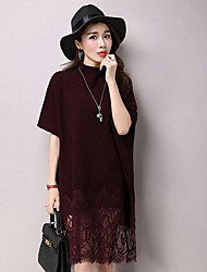 Women's Casual/Daily Simple Lace / Sweater Dress,Solid Round Neck Knee-length Long Sleeve Red / Black / Gray Cotton / PolyesterFall /