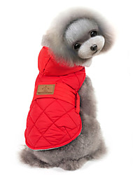Cat / Dog Coat / Jacket / Vest Red / Gray Dog Clothes Winter Solid Keep Warm / Windproof