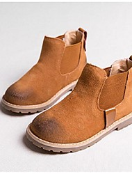 Girl's Boots Fall / Winter Comfort Pigskin Casual Flat Heel Black / Red / Coffee Walking