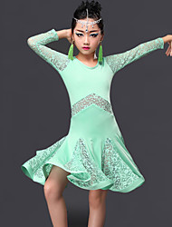 Latin Dance Dresses Children's Performance Milk Fiber Lace Ruffles 1 Piece Long Sleeve Dress
