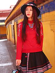 Tee-shirt Femme,Broderie Décontracté / Quotidien Bohème Automne Manches Longues Mao Rouge Rayonne / Polyester / Spandex