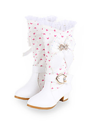 Girls Cinderella Suede Boots Princess Shoes Soft Bottom Dress shoes  Princess Fur Low Heel Knee High Boots