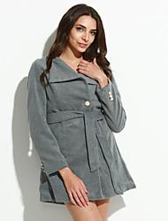 Women's Vintage / Cute Trench Coat,Solid Long Sleeve All Seasons Beige / Black / Gray Wool Medium