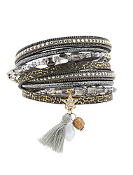Bracelet Charmes pour Bracelets / Bracelets en cuir / Bracelet / Bracelets Wrap Cuir / Strass / PlumeMode / Vintage / Bohemia style /