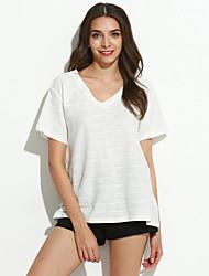 Feminino Camiseta Informal / Casual Simples Primavera / Verão,Sólido Branco / Bege / Preto Poliéster Decote V Manga Curta Fina