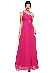TS Couture Formal Evening Dress - Elegant A-line One Shoulder Floor-length Chiffon with Beading Side Draping Ruching
