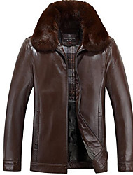 Men's Casual/Daily Simple Leather Jackets,Solid Shirt Collar Long Sleeve Winter Multi-color PU Thick