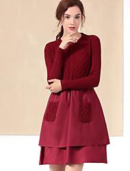 Gaine Robe Femme Décontracté / Quotidien simple,Couleur Pleine Col Arrondi Au dessus du genou Manches ¾ Rouge / Noir / Jaune Polyester