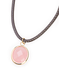 Sweet Pink Oval Titanium Steel Pendant Necklace