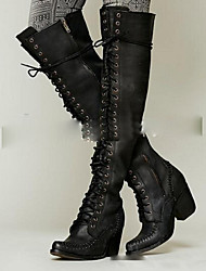 Women's Boots Comfort PU Casual Black Brown Khaki