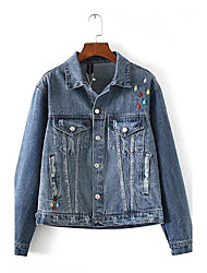 Women's Going out / Casual/Daily Vintage / Street chic Denim Jackets,Print / Embroidered Shirt Collar Long Sleeve All Seasons Blue