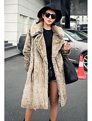 Women's Casual/Daily Simple Fur Coat,Solid Long Sleeve Spring / Fall Gray Faux Fur Medium