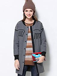 Damen Solide Retro Lässig/Alltäglich / Übergröße Jacke,Winter Rundhalsausschnitt Langarm Grau Mittel Kunstseide