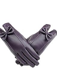 (Примечание - фиолетовый) мс ПУ кожаные перчатки, чтобы сохранить тепло и бархат сенсорным экраном перчатки