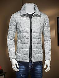 Пальто Винтаж Обычная Пуховик Мужчины,Однотонный На каждый день Хлопок Пух белого гуся,Длинный рукав V-образный вырез Черный / Серый