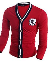 Men's Casual/Daily Simple Regular Cardigan,Solid Red / Black / Gray V Neck Long Sleeve Polyester Fall / Winter Medium Micro-elastic