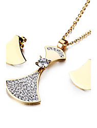 Kalen New Cheap Stainless Steel Jewelry Set For Women 18K Italy Gold Plated Rhinestone Crystal Pendant Necklace And Earrings Sets For Girls