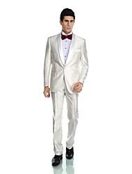 Smokings(Blanc,Polyester / Rayon (T / R) / Viscose / Laine et polyester,2 Pièces)Coupe Sur-Mesure