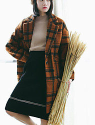 Women's Casual/Daily Simple Coat,Plaid Long Sleeve Red / Brown Wool