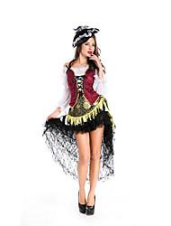 Fête / Célébration Déguisement Halloween Rouge/noir Couleur Pleine Haut / Jupe / Plus d'accessoires / Coiffure Halloween / Noël / Carnaval