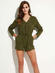 Women's Solid Green Jumpsuits , Sexy / Beach V Neck Long Sleeve