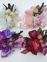 Bouquets de Noiva Rosas Lírios Peônias Alfinetes de Lapela Casamento Festa / noite Cetim