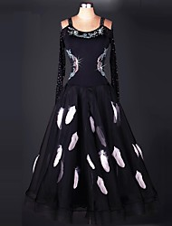 Ballroom Dance Dresses Performance Spandex Organza Draped Crystals/Rhinestones Paillettes 1 Piece Long Sleeve High Dress