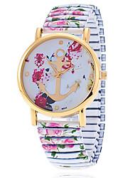 XU Men Fashion Color Rose Elastic Belt Anchor Watch