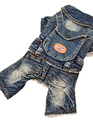 Dog Clothes/Jumpsuit Denim Jacket/Jeans Jacket Blue Dog Clothes Winter Spring/Fall Jeans Cowboy Fashion
