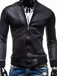 Men's Casual/Daily Vintage Leather Jackets,Solid Long Sleeve Black PU