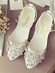 Women's Flats Summer Ballerina PU Casual Flat Heel Flower Black / White Others