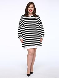 Tee Shirt Robe Femme Décontracté / Quotidien simple,Rayé Col Arrondi Au dessus du genou Manches Longues Bleu / Noir Coton Taille Normale