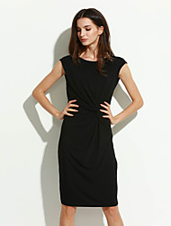 Women's Going out Sophisticated Sheath Dress,Solid Boat Neck Knee-length Sleeveless Black Polyester Summer