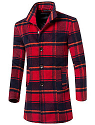 Men's Casual/Daily Simple Trench Coat,Houndstooth Stand Long Sleeve All Seasons Multi-color Wool Medium