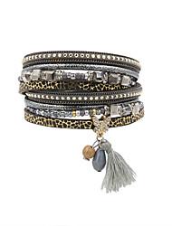 Bracelet Charmes pour Bracelets / Bracelets Wrap / Bracelets en cuir / Bracelet Cuir / Strass / PlumeMode / Vintage / Bohemia style /