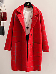 Women's Casual/Daily Simple Coat,Plaid Long Sleeve Blue / Red / Black / Gray Rabbit Fur
