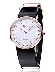 Men's / Women's Fashion Watch White Case Quartz / Leather Band Casual Brown Brand