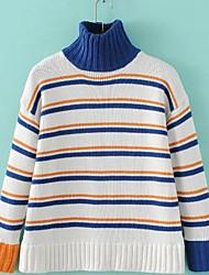 Damen Standard Pullover-Lässig/Alltäglich Sport Einfach Gestreift Blau Weiß Rollkragen Langarm Wolle Winter Mittel Dehnbar