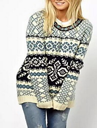 Women's Going out Sexy Regular Pullover,Jacquard Blue / Beige Round Neck Long Sleeve Cotton Fall Medium Micro-elastic