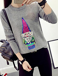 Women's Casual/Daily Cute Regular Pullover,Solid Multi-color Round Neck Long Sleeve Acrylic Fall Medium Micro-elastic