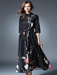 Feminino Bainha Vestido, Casual Simples Estampado Colarinho de Camisa Longo Manga ¾ Preto Poliéster Outono / Inverno Cintura MédiaSem