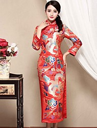 Gaine Robe Femme Décontracté / Quotidien Chinoiserie,Broderie Mao Midi Manches Longues Rouge Polyester Automne Taille Normale