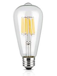 9w e26 / e27 ampoules à fil filé st64 12 cob 1100 lm blanc chaud 220-240 v 1 pcs